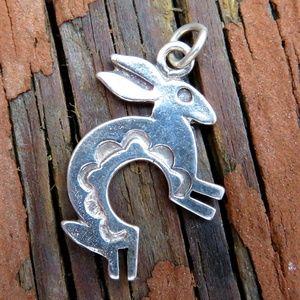 Vintage 925 Kokopelli Rabbit Bunny Pendant Charm